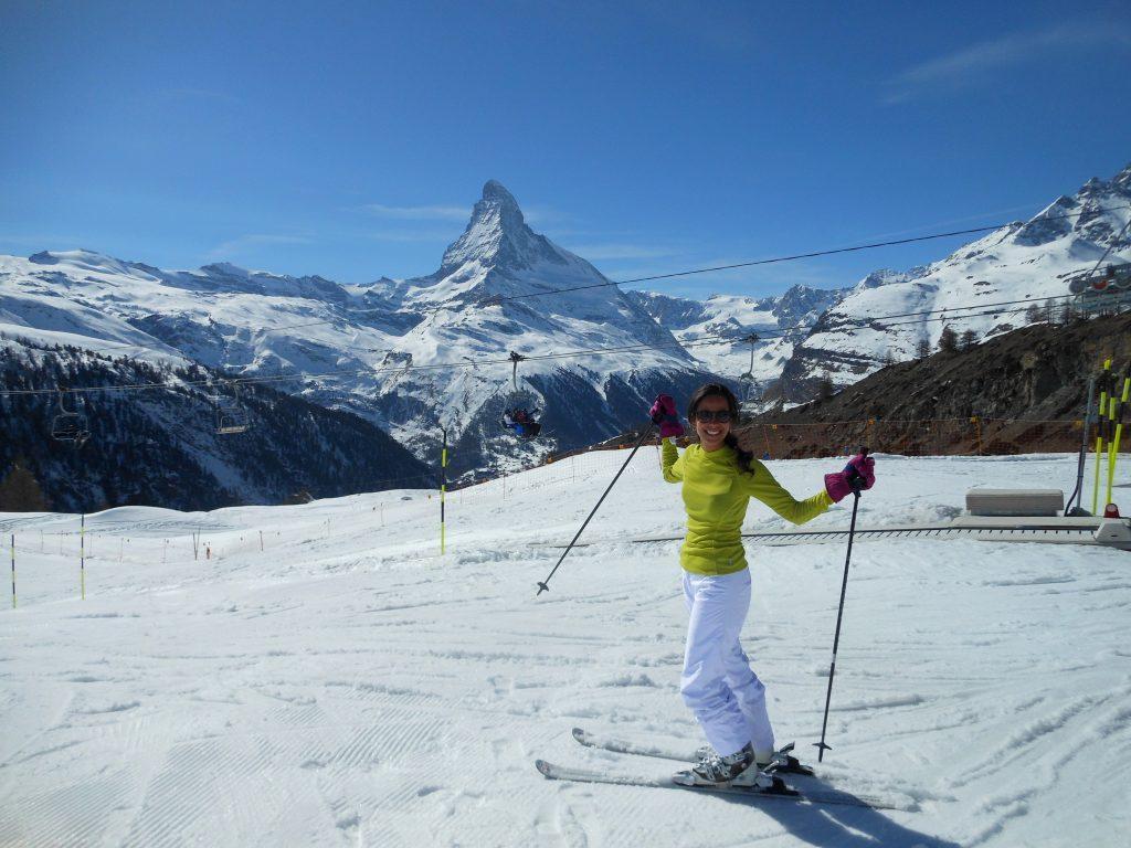 Aprender a esquiar em Zermatt na Suíça